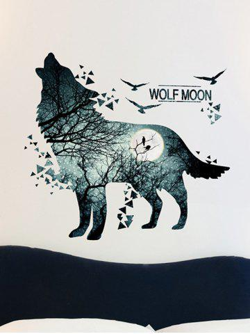 Buy Removable Vinyl Night Wolf Moon Wall Sticker - 60*90CM BLUE GRAY Mobile