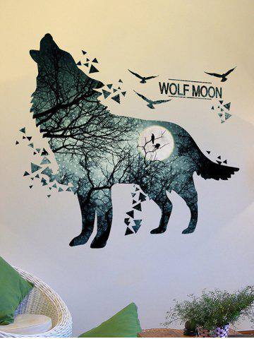 Trendy Removable Vinyl Night Wolf Moon Wall Sticker - 60*90CM BLUE GRAY Mobile