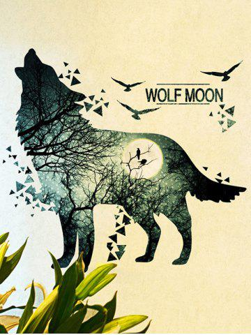 Outfit Removable Vinyl Night Wolf Moon Wall Sticker - 60*90CM BLUE GRAY Mobile
