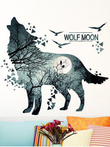 Cheap Removable Vinyl Night Wolf Moon Wall Sticker - 60*90CM BLUE GRAY Mobile
