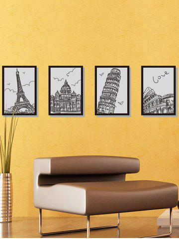 Building Hand Drawing Photo Frame Wall Stickers - Black - 60*90cm
