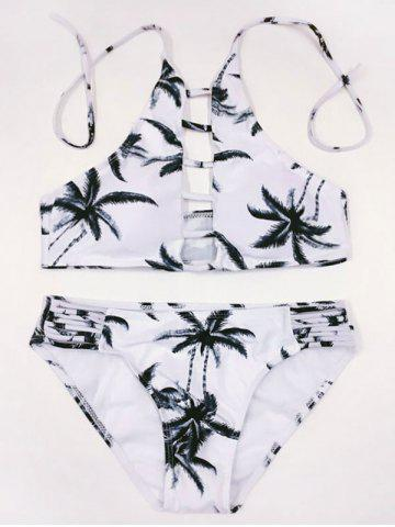 Cheap High Neck Halter Strappy Tropical Print Bathing Suit COLORMIX L