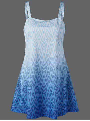 Chevron Adjustable Strap Skirted Tankini Set - Blue - M