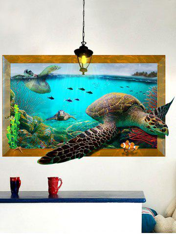 Outfits 3D Decal Turtle Animal Removable Vinyl Wall Sticker - 60*90CM COLORMIX Mobile