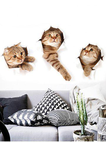 Best 3D Naughty Pussy Cat Animal Decor Vinyl Wall Sticker - 40*60CM BROWN Mobile