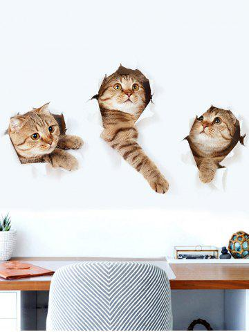 Fancy 3D Naughty Pussy Cat Animal Decor Vinyl Wall Sticker - 40*60CM BROWN Mobile
