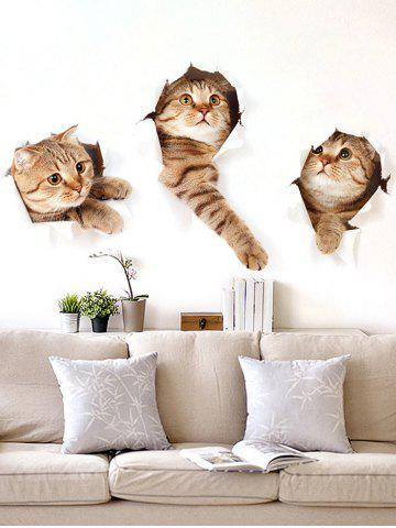 Outfits 3D Naughty Pussy Cat Animal Decor Vinyl Wall Sticker - 40*60CM BROWN Mobile