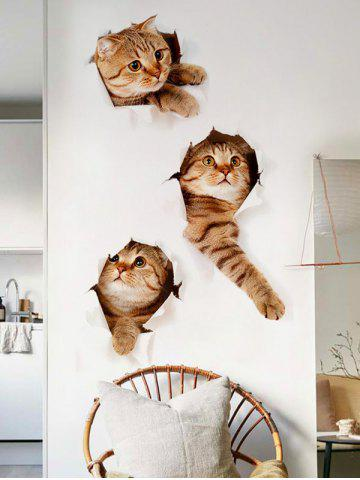 Shops 3D Naughty Pussy Cat Animal Decor Vinyl Wall Sticker - 40*60CM BROWN Mobile