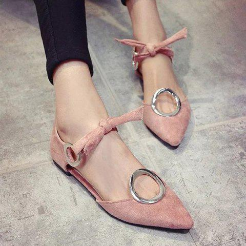 Online Lace Up Metal Ring Flat Shoes - 39 PINK Mobile