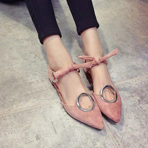 Discount Lace Up Metal Ring Flat Shoes - 39 PINK Mobile