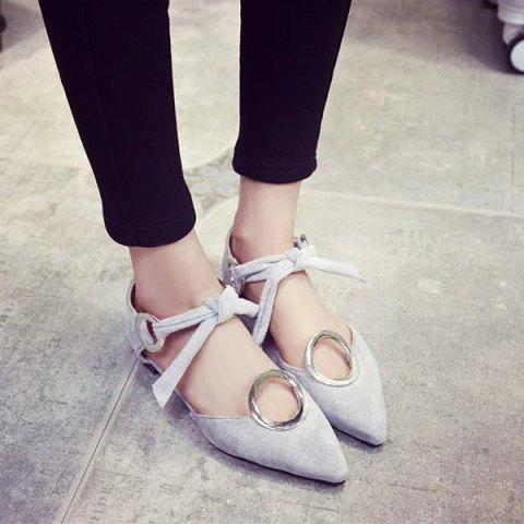 Fancy Lace Up Metal Ring Flat Shoes - 39 GRAY Mobile