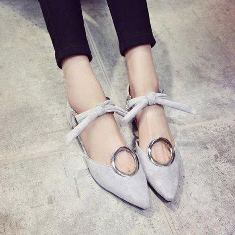 Store Lace Up Metal Ring Flat Shoes - 39 GRAY Mobile