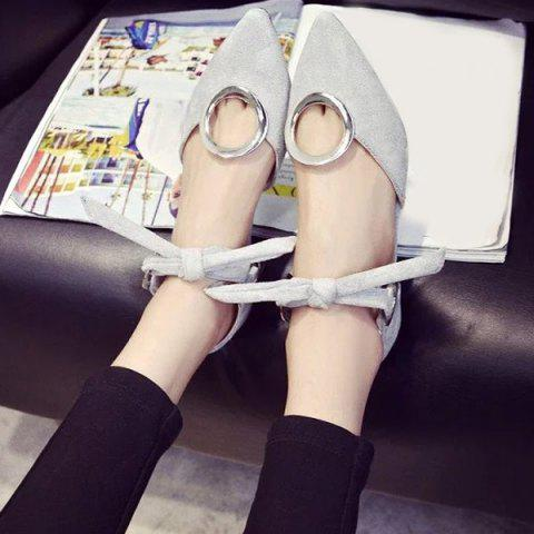 Outfit Lace Up Metal Ring Flat Shoes - 39 GRAY Mobile