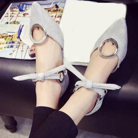 Buy Lace Up Metal Ring Flat Shoes - 39 GRAY Mobile