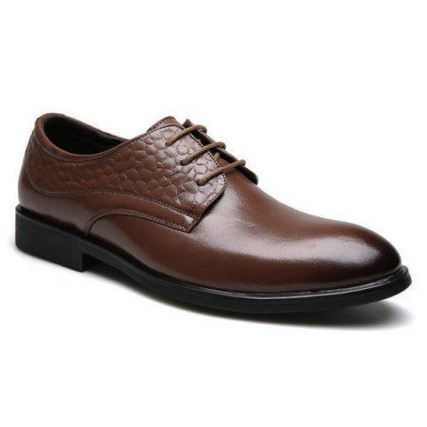 Buy PU Leather Embossing Formal Shoes - Brown 41