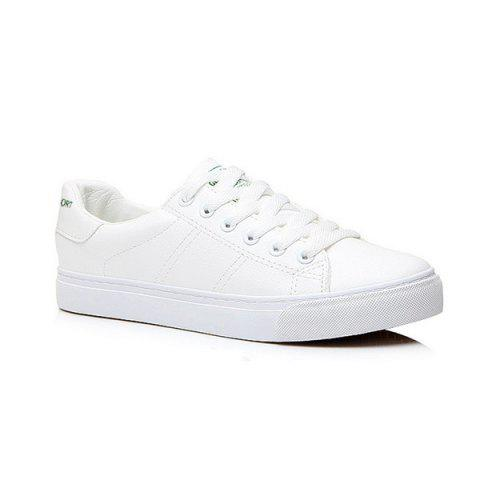 Letter Print Faux Leather Athletic Shoes - White - 39