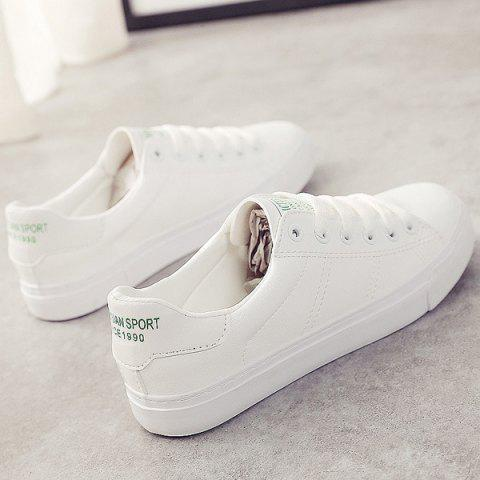 Affordable Letter Print Faux Leather Athletic Shoes - 39 WHITE Mobile