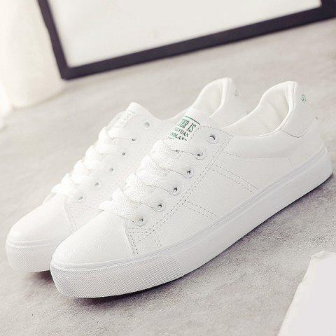 Cheap Letter Print Faux Leather Athletic Shoes - 39 WHITE Mobile