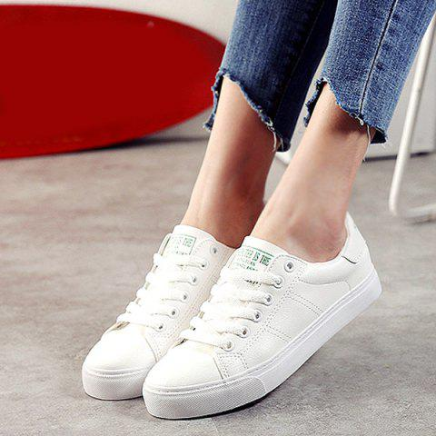 Fashion Letter Print Faux Leather Athletic Shoes - 39 WHITE Mobile