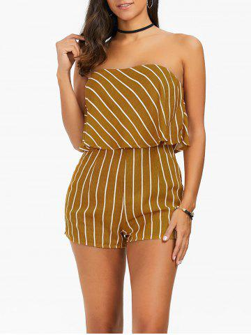 Store Stripe Flounce Strapless Romper YELLOW L