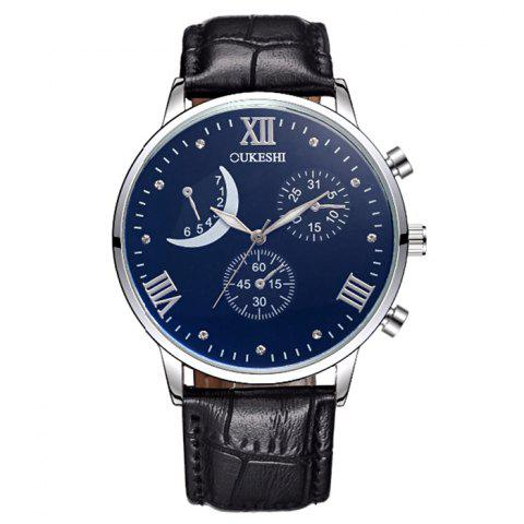 Chic OUKESHI Faux Leather Moon Roman Numerals Watch - BLACK  Mobile