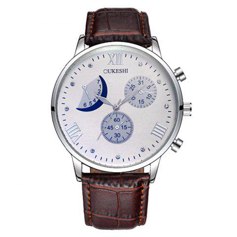 Affordable OUKESHI Faux Leather Moon Roman Numerals Watch BROWN