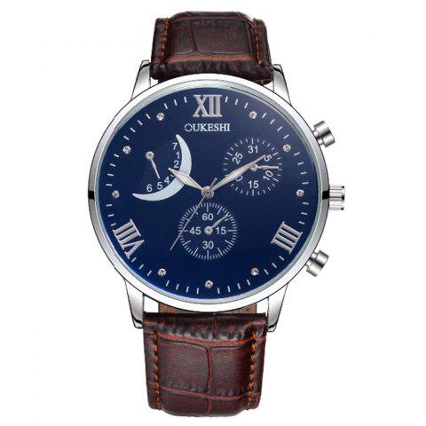 Unique OUKESHI Faux Leather Moon Roman Numerals Watch - BLACK AND BROWN  Mobile