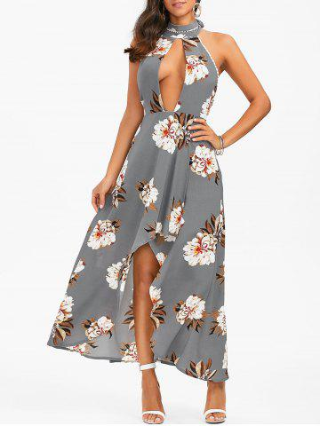 Halter Backless Floral Print Boho Swing Casual Maxi Dress - Smoky Gray - S