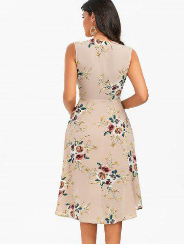 Affordable Floral Chiffon Sleeveless High Low Wrap Dress - XL APRICOT Mobile