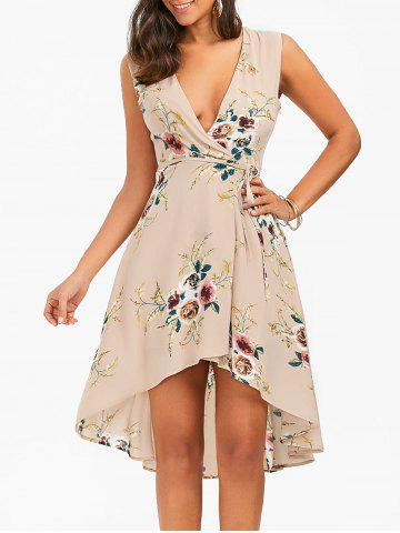 Best Floral Chiffon Sleeveless High Low Wrap Dress - XL APRICOT Mobile