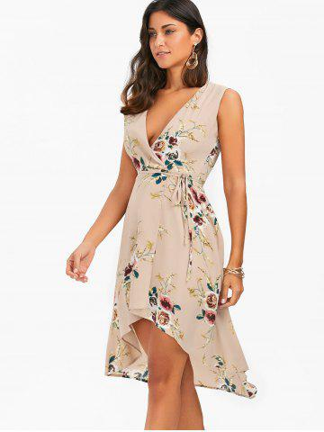 Cheap Floral Chiffon Sleeveless High Low Wrap Dress - XL APRICOT Mobile