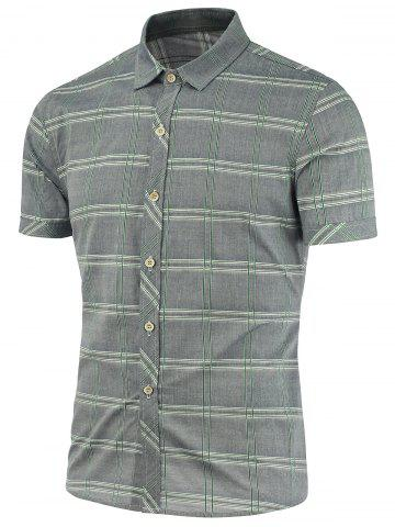 Buy Short Sleeves Checked Shirts - Gray 3XL