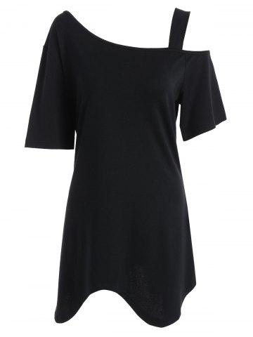 Cheap Plus Size Asymmetric Long Open Shoulder T-Shirt BLACK XL