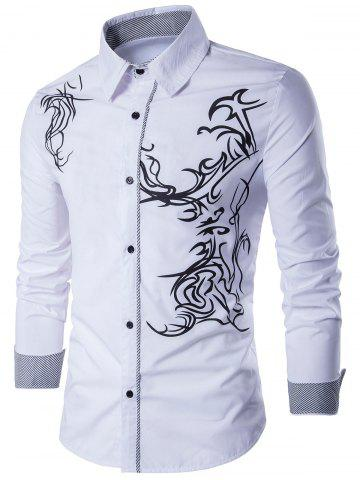 Long Sleeve Totem Pattern Shirt - White - L