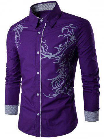 Outfits Long Sleeve Totem Pattern Shirt PURPLE 3XL