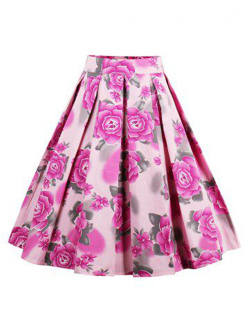 Store Printed High Waisted Skater Skirt PINK 2XL