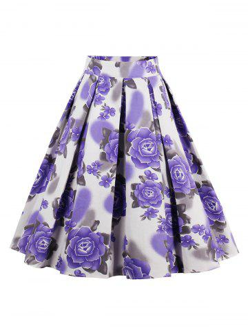 Outfit Printed High Waisted Skater Skirt PURPLE 2XL