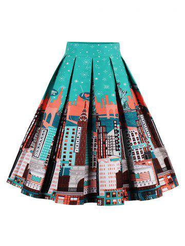 Cheap Printed High Waisted Skater Skirt GREEN/ORANGE XL