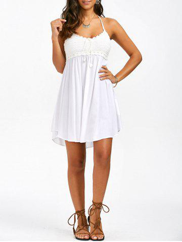 Crochet Trim Halter Neck Summer A Line Dress - White - Xl