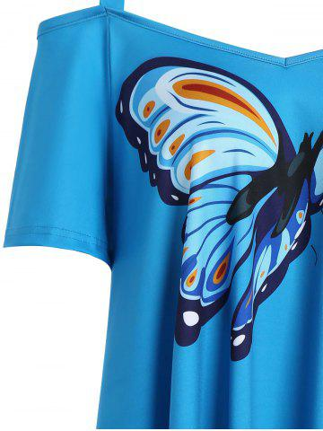 Store Cold Shoulder Butterfly Print Plus Size Top - 5XL BLUE Mobile
