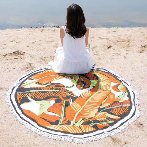 Cheap Banana Leaf Printing Tassel Round Beach Throw LIGHT COFFEE