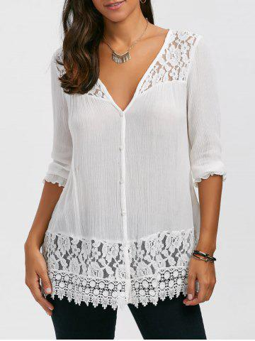 Shops Lace Panel Button Up Blouse - XL WHITE Mobile