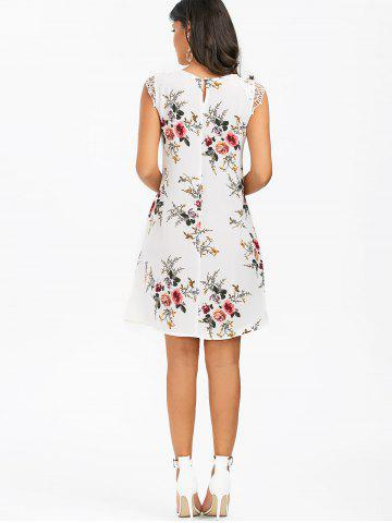 Trendy Sleeveless Cutwork Tiny Floral Dress - M WHITE Mobile