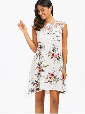 Latest Sleeveless Cutwork Tiny Floral Dress - M WHITE Mobile