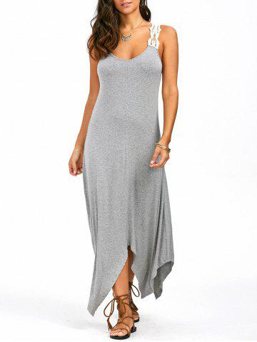 Cheap Sleeveless Lace Panel Handkerchief Long Casual Dress - M GRAY Mobile