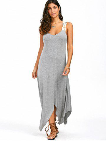 Sale Sleeveless Lace Panel Handkerchief Long Casual Dress - M GRAY Mobile