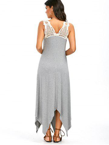 Discount Sleeveless Lace Panel Handkerchief Long Casual Dress - M GRAY Mobile