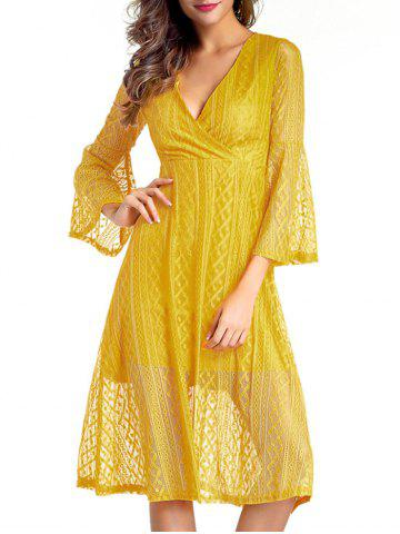 Buy Surplice Lace Swing A Line Dress - M YELLOW Mobile