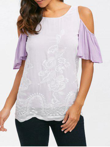Best Embroidered Cold Shoulder T-Shirt - 2XL WHITE Mobile