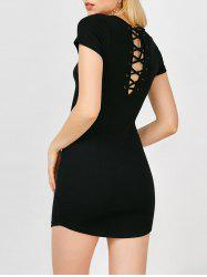 Lace Up Mini Jersey Knit Dress